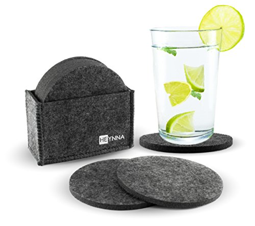 HEYNNA Glasuntersetzer Set Filz / 8 runde Untersetzer mit praktischer Halterung - Premium Tischuntersetzer für Tassen, Gläser und Flaschen / Farbe dunkelgrau