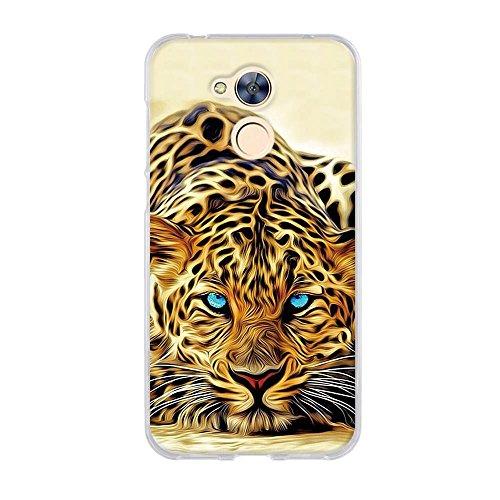 Fubaoda Hülle für Huawei Honor 6A, Exotische Zeichnung Eines blauen Augen-Leoparden,Langlebige Ultra Dünn Schutzhülle- Staub und Scratch- Stoßfest TPU Handyhülle für Huawei Honor 6A - Exotische Augen