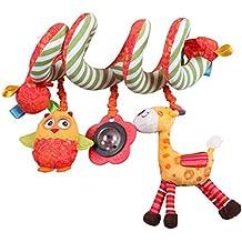 Labebe Soft Hanging Spiral Activity Spielzeug mit Spiegel für Kinderbett und Kinderwagen - Orange Fox