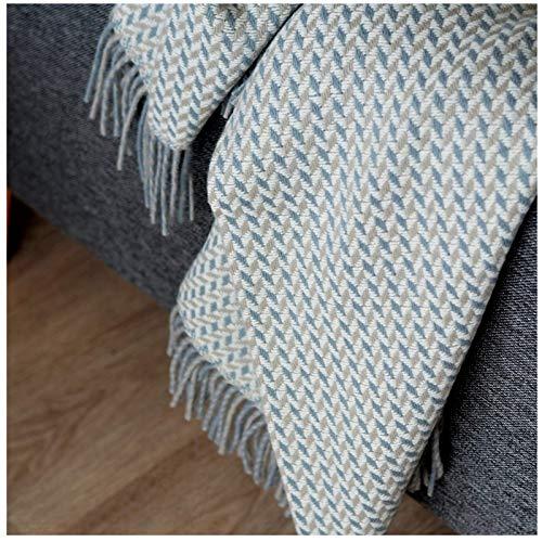 Linen & Cotton Plaid, Couverture en Laine, Couvre-Lit de Luxe VALENCIA - 100% Laine Pure (135 x 205cm) Beige/Bleu