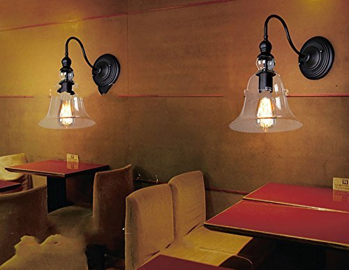 Lightess lampada da parete interni stile vetro industriale applique