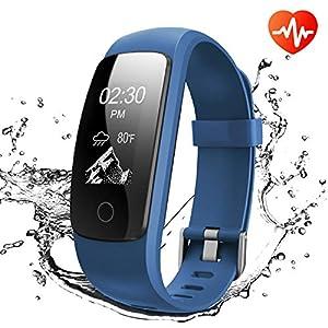 Runme Activity Tracker, Fitness Tracker con monitor de ritmo cardíaco y sueño, Smart Fitness Watch con Podómetro, GPS Tracker, impermeable IP67 para Android / IOS(Negro)