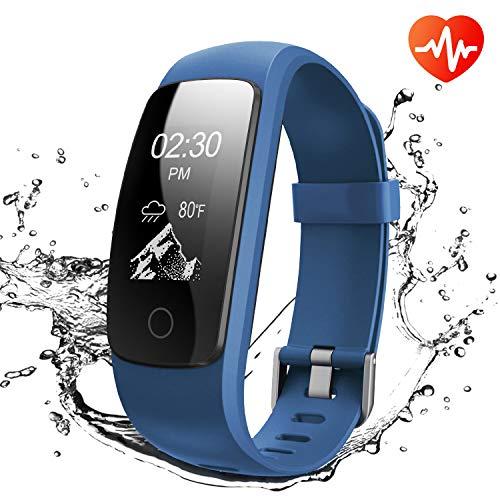 Fitness Tracker, Tracker Attività di Runme, Orologio Fitness con Monitor Sonno e Frequenza Cardiaca, Cinturino Smart Protezione IP67 con Pedometro, Localizzatore GPS, per Smartphone Android / IOS