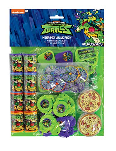 Amscan International Amscan 3900693 Masken für Kinder, Motiv: The Rise of Teenage Mutant Ninja Turtles, 48 Stück