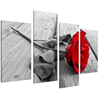 Wallfillers Tableau sur Toile - Fleur Rose - Rouge, Noir et Blanc - 4 Parties Canvas 4005
