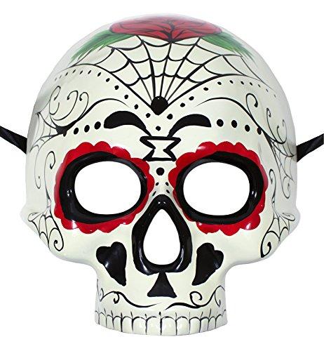 Day of the Dead Maske - Cremeweiß mit bunten Mustern - Tolles Zubehör zum Kostüm für Día de los Muertos, Fasching, Halloween und Mottoparty