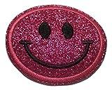 Bügel Iron on Smiley Aufnäher Patches Glitzer für Jacken Cap Hosen Jeans Kleidung Stoff Kleider Bügelbilder Sticker Applikation Aufbügler zum aufbügeln FARBVARIANTEN 6 cm (flash pink)