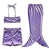 EFE Maillot de bain 3 pièces Costume Déguisement Bébé Queue de Sirène (Top + Shorts/Culotte + Jupe) Set de Bain Plage Petite Filles (2-3 ans, Violet)