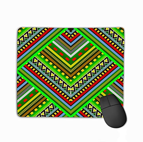 Family Mouse Pad,Standard Size Rectangle Non-Slip Rubber Mousepad 11.81 X 9.84 Inch Colorful Striped tribal Abstract Ornate Hipster Bright Patterned Geometric Multicolor Graphic Multi Color Patterned