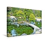 Calvendo Premium Textil-Leinwand 45 cm x 30 cm Quer, Eine steinerne Brücke führt über Einen lauschigen Teich im harmonischen Garten von Nijo Castle | Wandbild. Nijo Castle, Kyoto, Japan Kunst Kunst