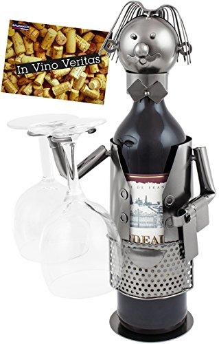 Brubaker–Soporte de botella de vino botella soporte Camarero Deko objeto de metal con tarjeta de felicitación para vino regalo