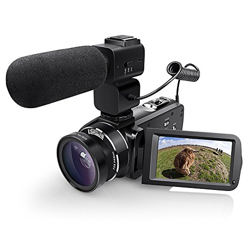WiFI Camera Camcorder, Eamplest Full HD 1080P 30FPS 24MP 16X Digital Zoom Video Camera, Handheld Digital Camera Recorder with External Microphone and Wide Angle Lens(Z20)