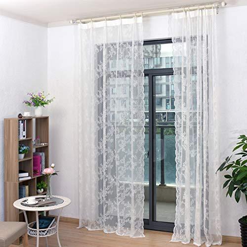 GWW Halb Reine Bestickte Gardinen,Schlafzimmer-Rod Pocket-fassadenelemente Voile Vorhänge Für Wohnzimmer,1 Tafel-weiß 150x220cm(59x87inch) (Spitze Tür Vorhang)