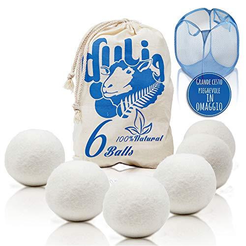 Palline per asciugatrice, palle di lana asciugabiancheria, ammorbidente naturale riutilizzabile per più cicli, profumatore ad olii essenziali, incluso cesto portabiancheria