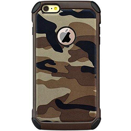 3-IN-1 iPhone 6/6s Plus Tarnung Mehrfachschutz Hüll + Transparent 9H Gehärtetem Glas + Ringhalter Stoßfest Anti-Kratzer 360-Grad Schutzhülle Handyhülle mit 4 Airbags für 6/6splus,5.5 zoll,Braun