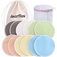 Best waschbar Bio Bambus Stilleinlage mit Wäschekorb und Tuch Tasche von smartfami, wiederverwendbar Stilleinlagen,, wasserdicht, auslaufsicher BH Pads, saugstark, hypoallergen, Stillen