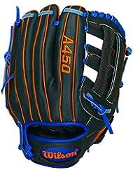 """Wilson Sporting Goods Co. A450 DW5 11"""" Right-hand baseball glove Outfield 11"""" Negro, Azul, Naranja - guantes de béisbol"""