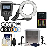 Precision Design 130 Universal Macro LED Ring Light Flash With Colored Diffusers With Portable Light Box Studio + Batteries Charger + Kit