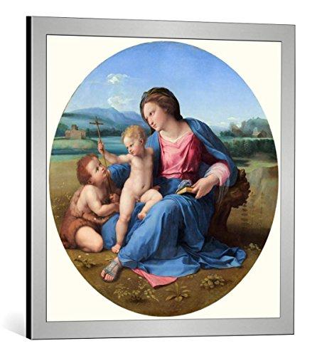"""Kunst für Alle Cuadro con Marco: Raphael The Alba Madonna c 1510"""" - Impresión artística Decorativa con Marco, 60x60 cm, Plata cepillada"""
