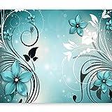 murando - Fototapete Blumen 150x105 cm - Vlies Tapete - Moderne Wanddeko - Design Tapete - Wandtapete - Wand Dekoration - Ornament blau b-A-0044-a-c