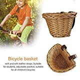 Todaytop - Cesta de Mimbre para Bicicleta Infantil con Correas Ajustables de Piel, Impermeable, Tejido Artificial, para Todas Las Bicicletas de niños, 23 16 15,5 cm