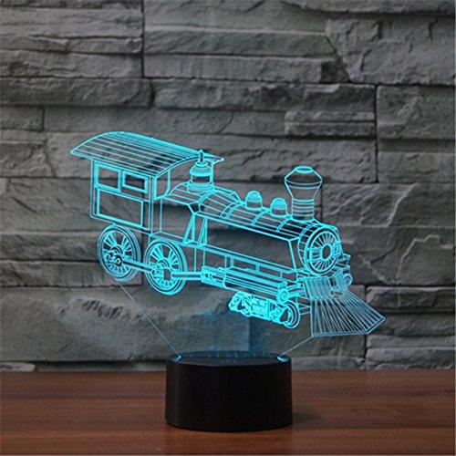 3D optische Täuschung Lokomotive Panel Modell Beleuchtung Nacht 7 Farbwechsel USB Touch Taste LED Schreibtisch Tabellen Licht Lampe (Tabelle Lampe)