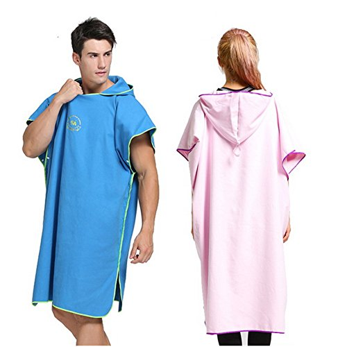 HomeYoo Changing Robe Towel Poncho, Surf Beach Wetsuit Changing Towel Bath Robe Poncho with Hood, Perfect for beach, Holidays, Travel, Surf .One Size Fit All