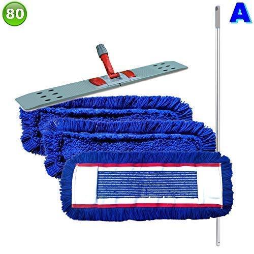 Set mit 3 Wischmopp Wischmop Acryl Industriequalität waschbar in 40 50 60 80 cm (80 cm)