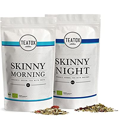 TEATOX Skinny Teatox Programme de 14 Jours, Morning & Night, thé vert biologique avec maté & infusion biologique avec rooibos, sachets de recharge