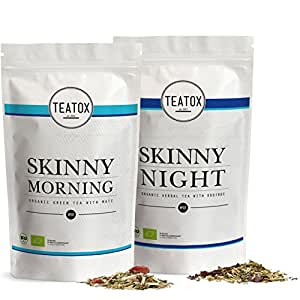 TEATOX Skinny Teatox 14 Tage Programm, Morning & Night , Bio Grüntee mit Mate & Bio Kräutertee mit Rooibos, Refill Beutel