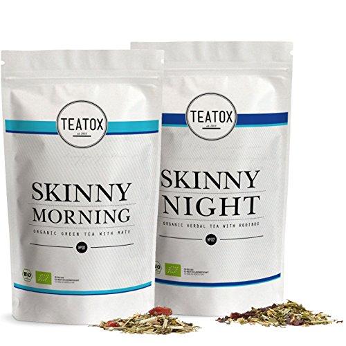 TEATOX Skinny Teatox 14 Tage Programm, Morning & Night , Bio Grüntee mit Mate & Bio Kräutertee mit Rooibos, Refill...