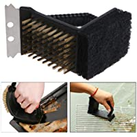 Cepillo para barbacoa 3en 1, cepillo de cerdas de acero inoxidable, rascador y espátula para grill
