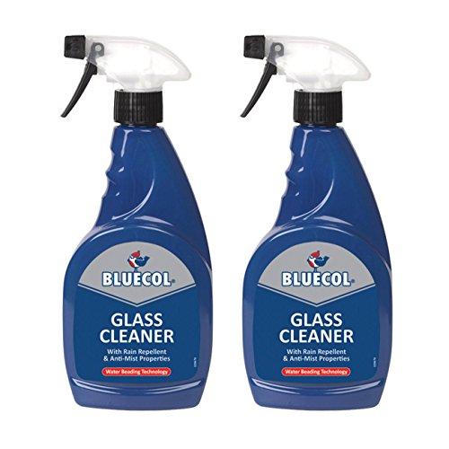 2x Bluecol Glas Reiniger Spray 500ml mit Regen abweisend & Anti Nebel Eigenschaften