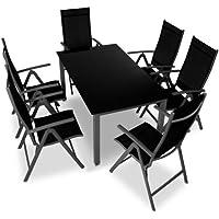 Miadomodo - Aluminio conjunto muebles de jardin - juego de 7 piezas - gris oscuro