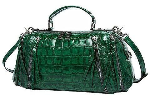 SAIERLONG Ladies Designer Womens Dark green Oil Wax Leather Handbags Shoulder Bags