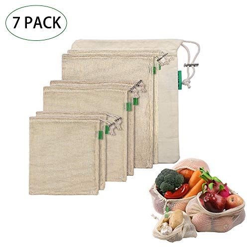 Obst und Gemüsebeutel Baumwolle, Einkaufstaschen Wiederverwendbare Einkaufsbeutel aus Bio Baumwolle Waschbar Einkaufsnetz Zero Waste (7er Set,2xKlein, 2X Mittel, 2X Groß,1Aufbewahrungstasche)