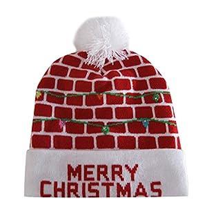 clacce Strickmütze Feinstrickmütze Wintermütze Strickmütze Bunte Frohe Weihnacht LED Licht Oben Knit Hut Beanie Haarball Warme Kappen Geschenke