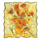 prettystern 90cm Scialle di seta da donna Arte Panno Stampa Pittura Van Gogh quattordici girasoli in un vaso P723