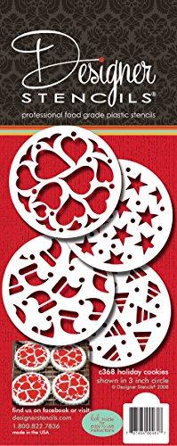 Designer Schablonen C368Urlaub Cookies Kuchen Schablone, (Herzen, Sterne, Santa Hat, Candy Corn), beige/halbtransparent -