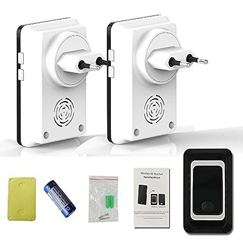 Saful Waterproof EU Plug-in Digital 28 Door Ring Wireless Remote Control Doorbell Home Door Bell with 2