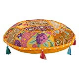 Indian Ottoman Pouf Cover Decorative Living Room Foot Stool Bohemian Chair Covers Handmade Cotton Traditional Round Pouf 21 Inch Indian Cushion Cover Set Bohemian Hippie Hippy Mandala Cushion Set
