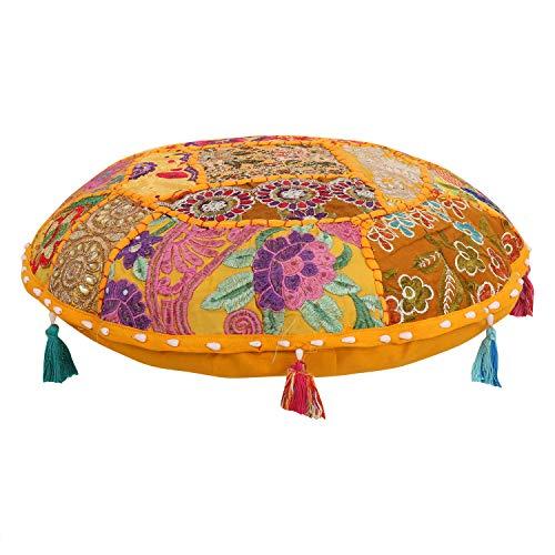 Baumwoll-wohnzimmer-stuhl (indischen osmanischen Pouf Bezug Deko Wohnzimmer Fusshocker Bohemian Stuhl Bezüge handgefertigt Baumwolle Traditionell Runder Pouf 40,6 cm)