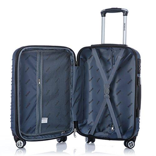 BEIBYE Zwillingsrollen 2088 Reisekoffer Koffer Trolleys Hartschale in XL-L-M in 14 Farben (Blau, Set) - 8