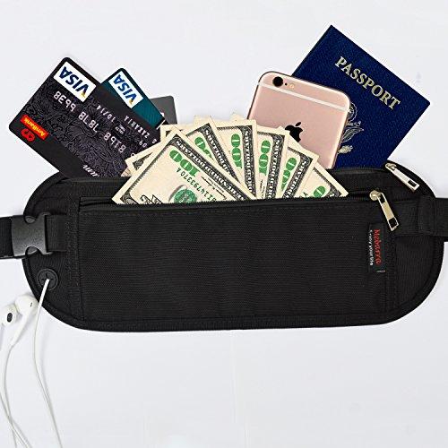RFID Geld Gürtel Reise Bauchtasche versteckbar, Mebarra Schwarz Hüfttasche unter Kleidung Reisepass Tasche für Frauen, - Männer Für Geld-gürtel