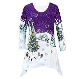 SEWORLD Heißer Einzigartiges Design Mode Damen Frohe Weihnachten Langarm Winter Hoodie Sweatshirt Weihnachtsdruck Freizeit Pullover Bluse(Violett,EU-38/CN-XL)