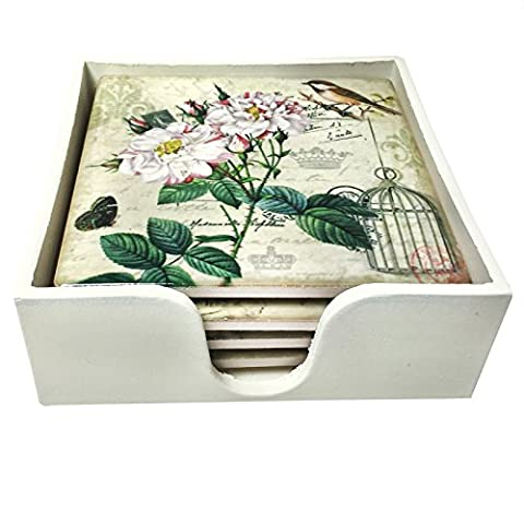 Just Contempo Rose & Birdcage Coasters, Cream Pink Green, Set of 4
