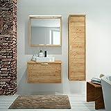 ALLIBERT Badmöbel-Set Badmöbel vormontiert Softclose-Funktion Eiche Hell Spiegel Waschtisch 80 cm