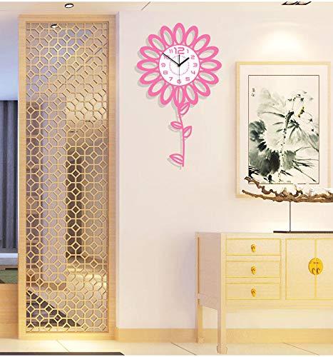 Wanduhr Wohnzimmer Moderne Minimalistische Stumme Mode Kreative Uhr Kinderzimmer Cartoon Sonnenblume Quarzuhr Rosa