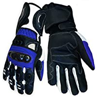 Blue Vector Race Kevlar Leather Vented Motorcycle Gloves rp £62 (Lrg)