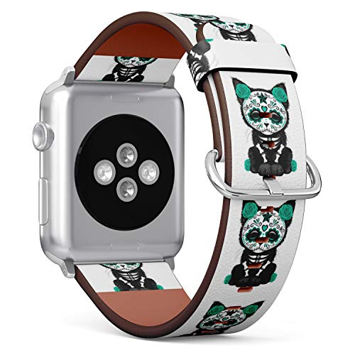 R-Rong kompatibel Watch Armband, Echtes Leder Uhrenarmband f¨¹r Apple Watch Series 4/3/2/1 Sport Edition 38/40mm - Kitty Cat Sugar Skull
